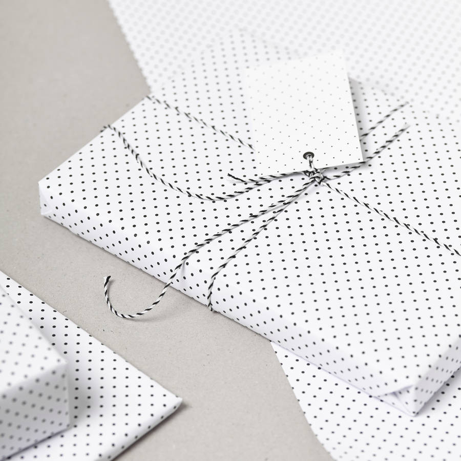 Black polka dot gift wrap