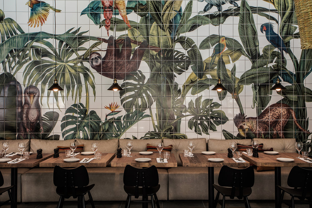 Tropical tile illustration Casa Cook restaurant