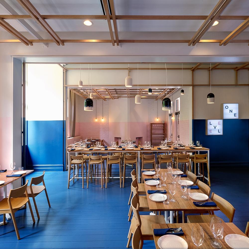 studio gram designs electric blue level one knstrct - Blue Restaurant Design