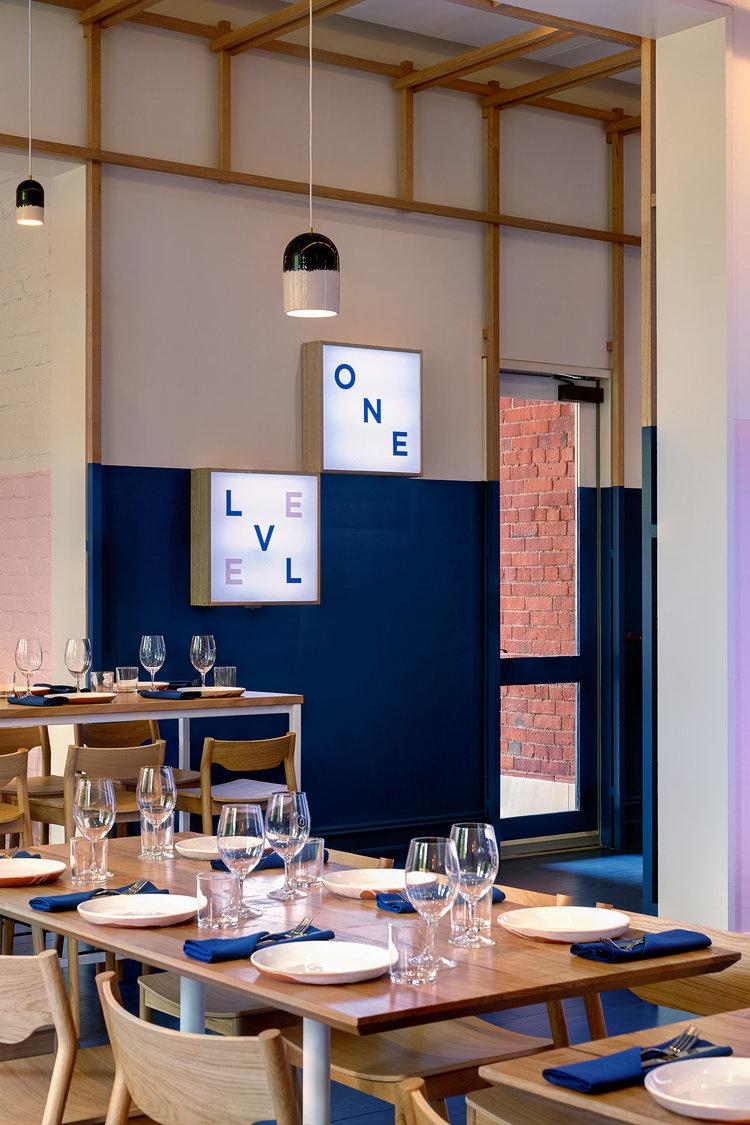 level one blue walls - Blue Restaurant Design