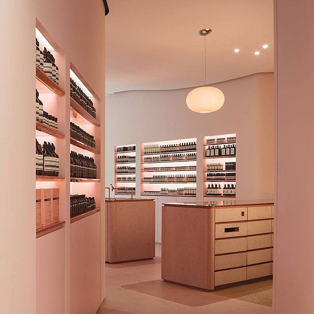 @aesopskincare recently opened afresh in #NgeeAnnCity, with curvy blush walls and signature Type-A product display by Asylum.