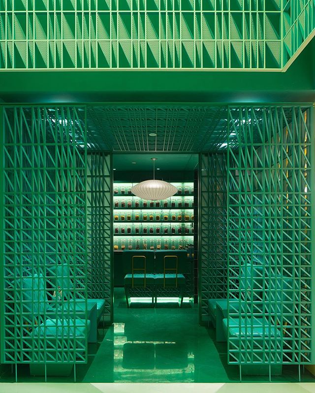 Dreaming in greens at Nimman Spa #Shanghai, where each space transitions into various shades of the color by Maos Design