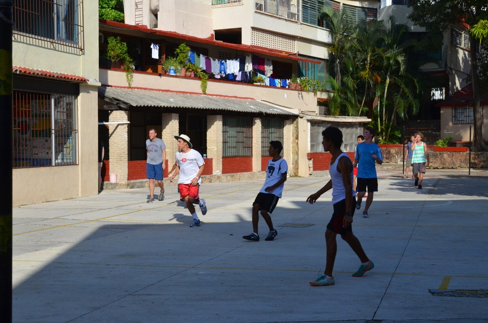 Boys playing soccer.