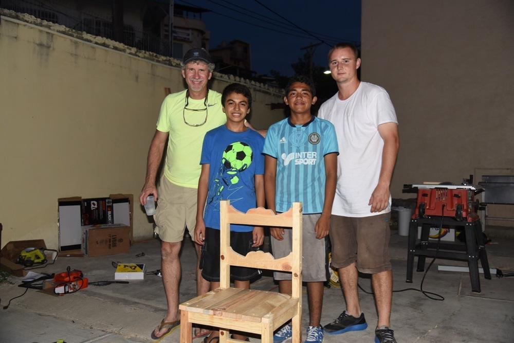 Brian, Lizandro, Alejandro and David, still working at night
