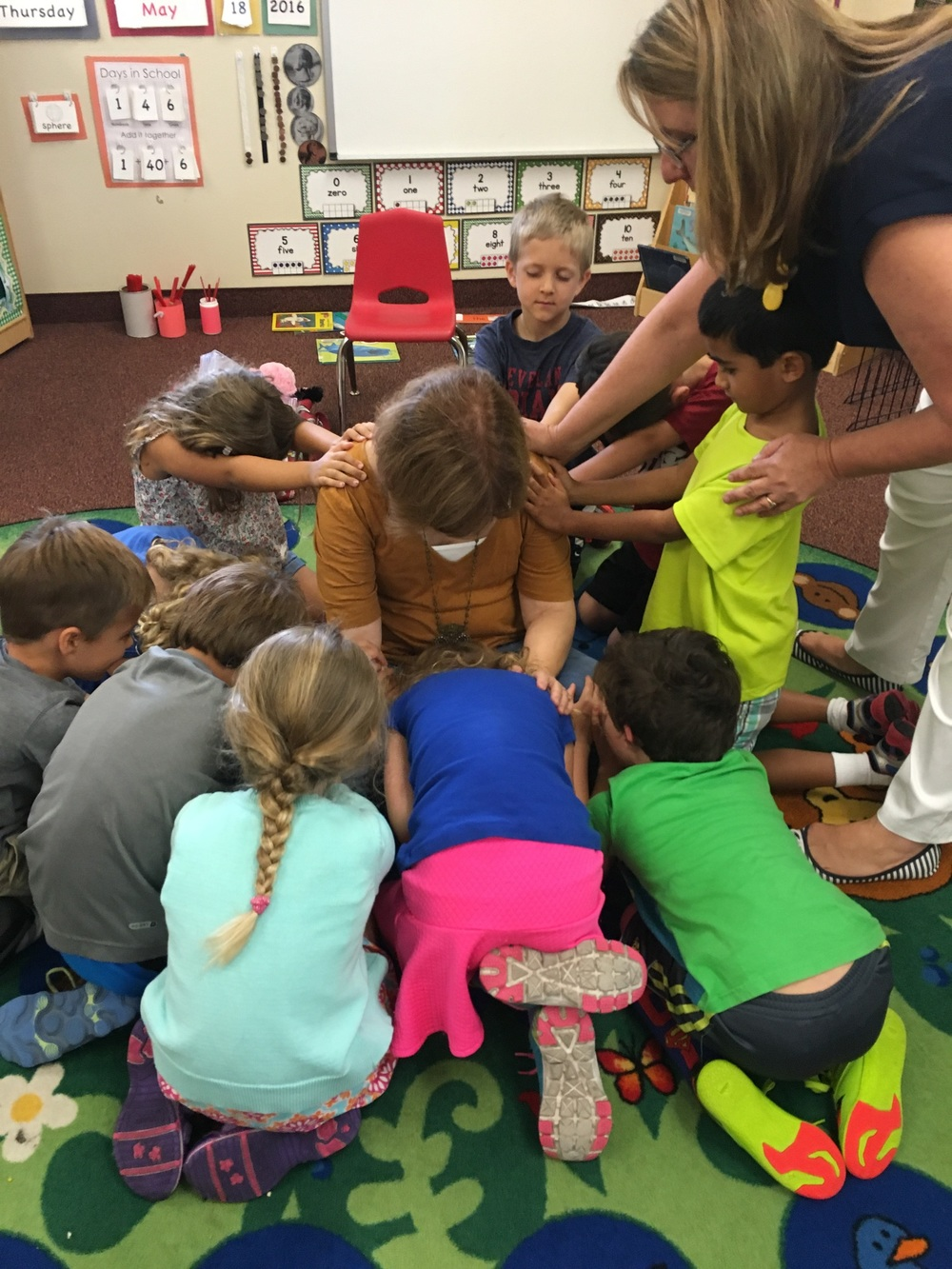 Today at Maitland Community Preschool, Mrs. Creech's (or Señora Creech, of course) kindergarten class prayed for her as she prepared to go to Israel. What a gift to hear the sweet and sincere prayers of children!