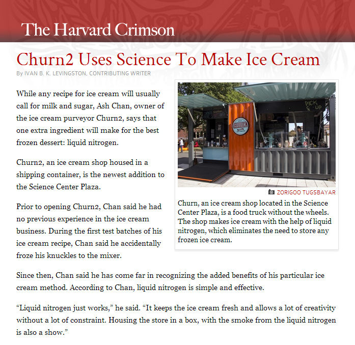 The Harvard Crimson |  Churn2 Uses Science To Make Ice Cream