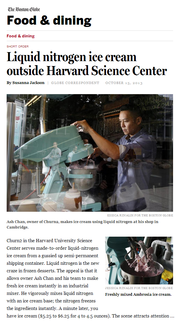 The Boston Globe |  Liquid nitrogen ice cream outside Harvard Science Center