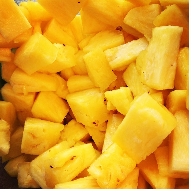 Freshly sliced pineapple for Piña Colada ice cream. We aren't letting to of summer just yet! #churn2 #pineapple #summer #pinacolada #icecream #liquidnitrogen #LN2 #milk #sugar #science #magic #love #fresh #harvardsquare #cambridge #boston #foodie #foodporn #improperbostonian #instafood #instasweets #dessert #sweet