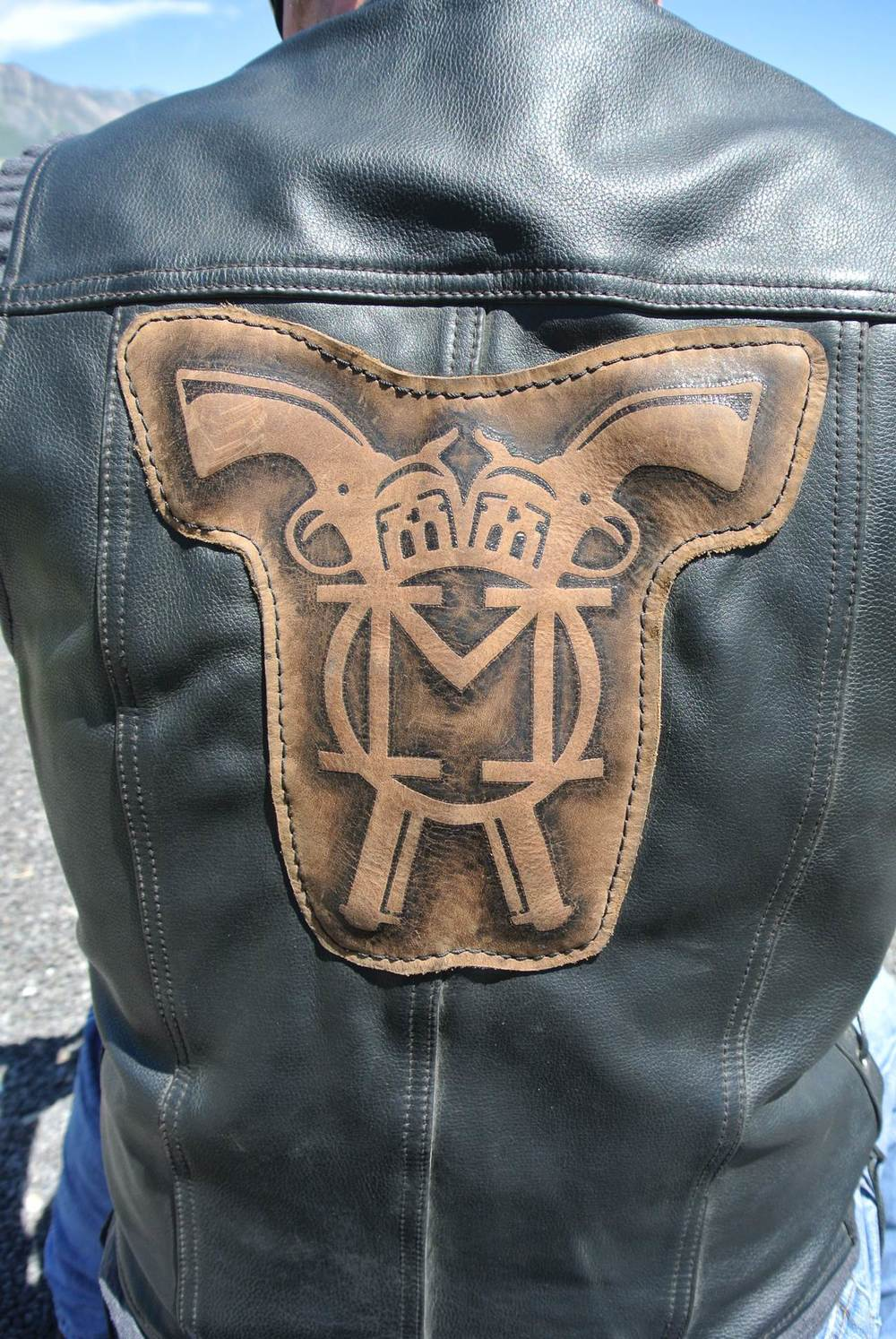 Circle M-Brand heat engraving Motorcycle Patch - zoom.jpg