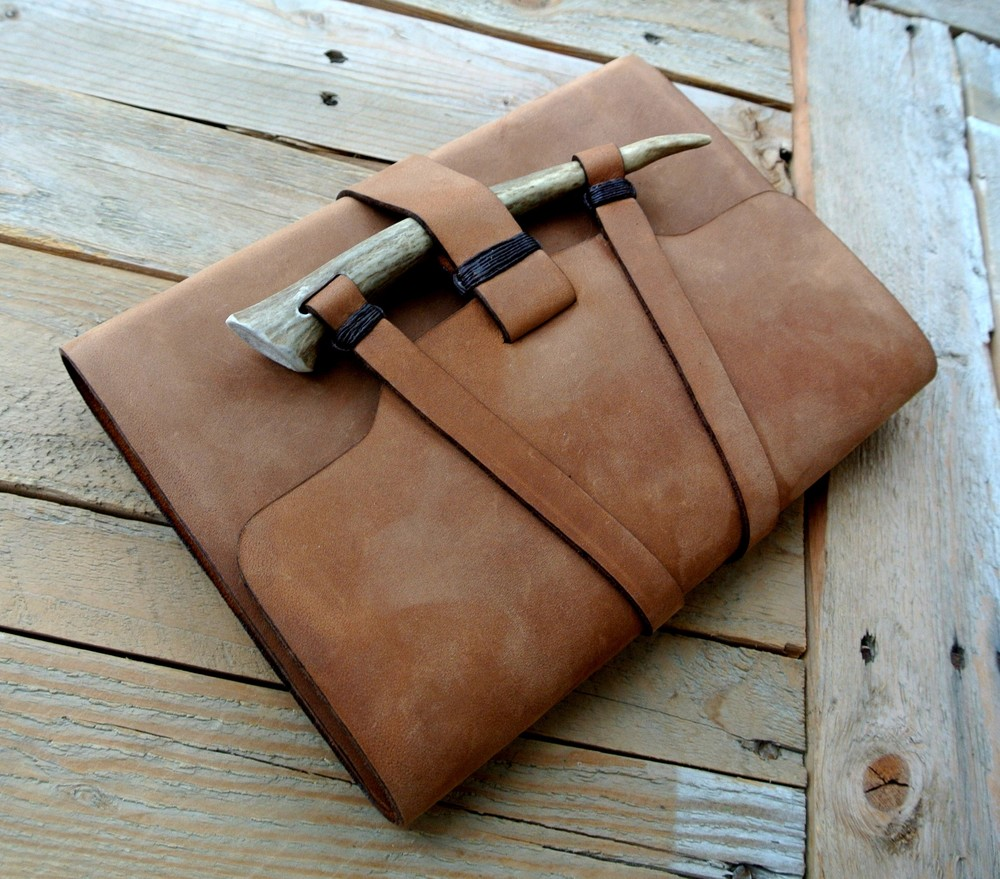 Circle M Brand - Custom Leather Journal with Antler closure.JPG