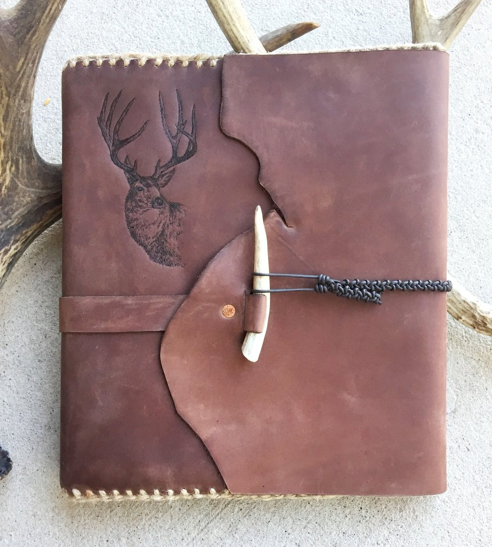 Circle M Brand - Binder large (wrap around with Elk engraved and Antler).JPG