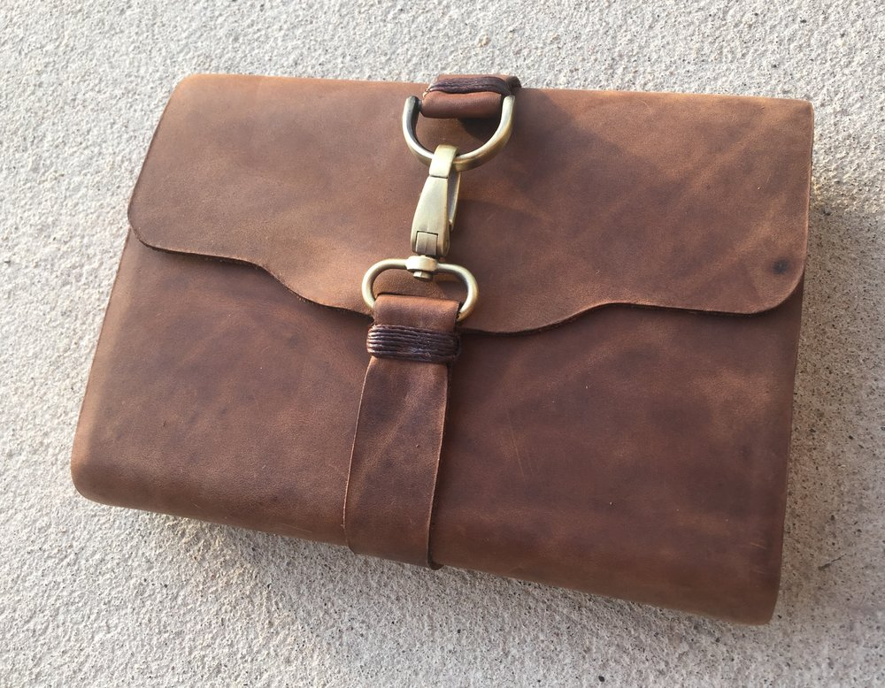 Circle M Brand - Bible (wrap around strap with clasp on patina brown).JPG