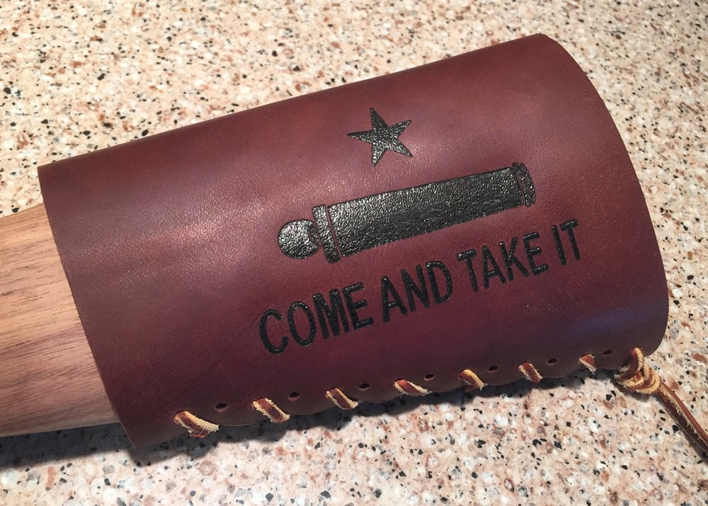 Circle M Brand (Leather Buttstock Cuff) - Come And Take It & Cannon Star.JPG