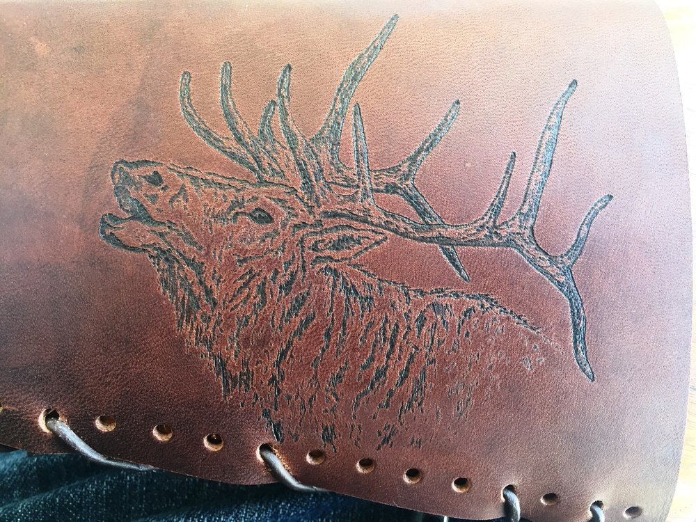 Circle M Brand - ELK heat engraving on leather.JPG