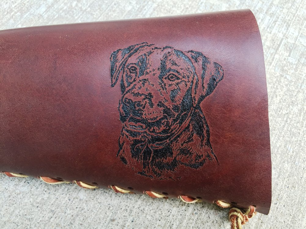 Circle M Brand - DOG heat engraving on leather.JPG