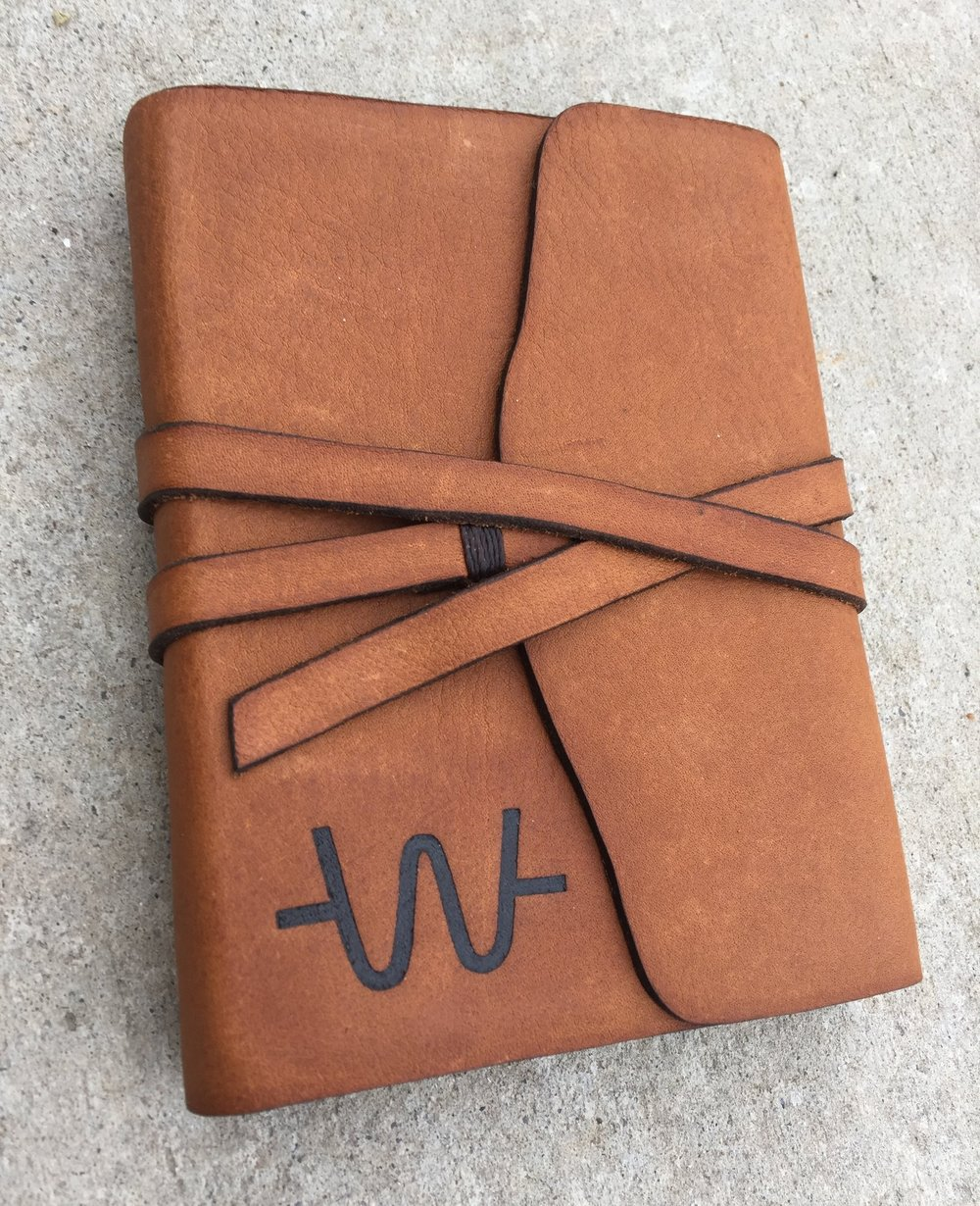 Circle M Brand - Heat Engraved handmade leather Journal with cattle brand.JPG