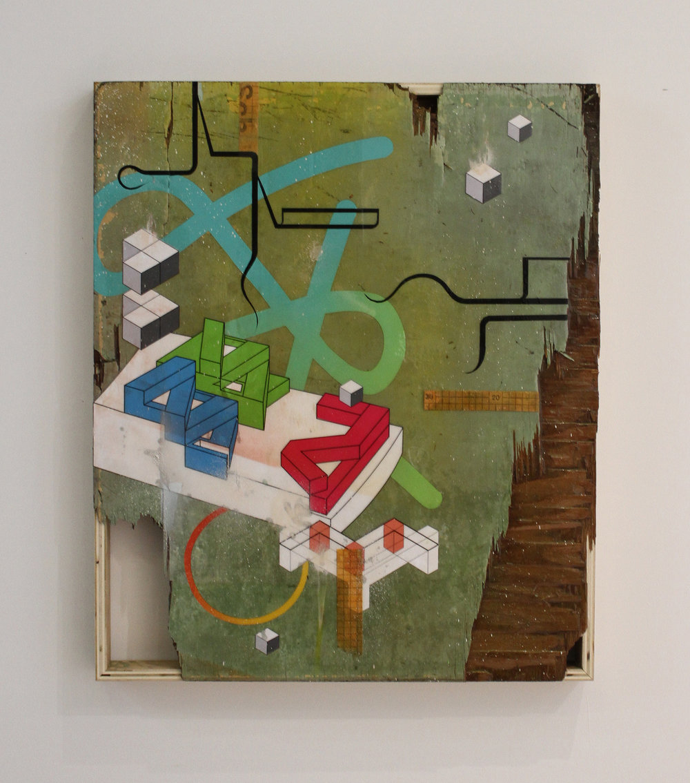 "BUILDING BLOCKS No. 1 Mixed media on re-purposed wood panel. 30"" x 36"""