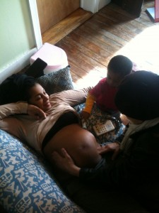 Marcy and her Birth Assistant, Gibrán (age 2), prenatal check up