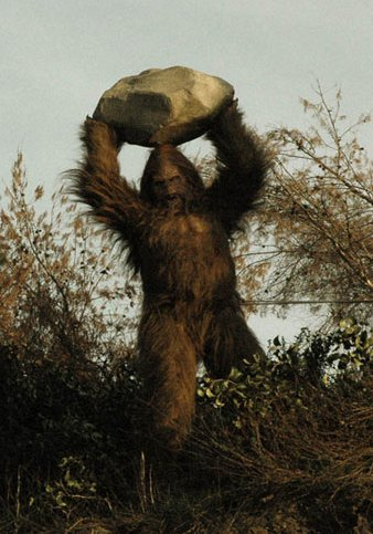"""Promotional image from """"Messin' with Sasquatch"""" campaign, Link Snacks, Inc., 2010."""