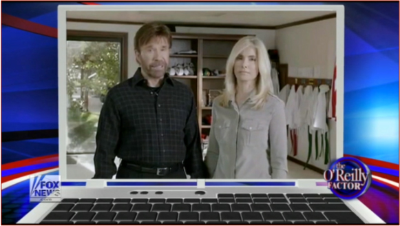 "Figure 1: Chuck Norris and Gena O'Kelley on ""The O'Reilly Factor,"" September 11, 2012."