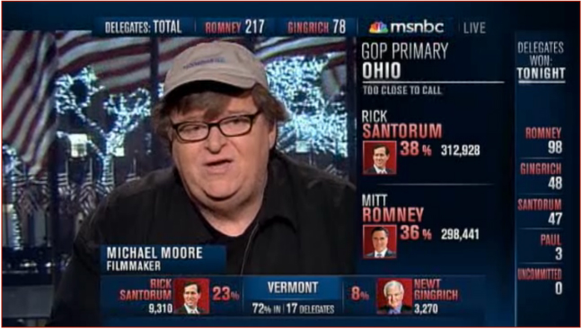 Figure 2: Michael Moore participates in MSNBC coverage of election results, March 7, 2012.