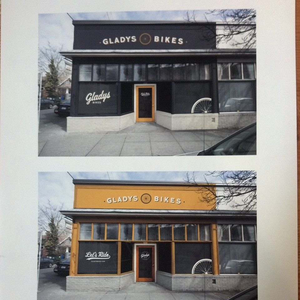 Navy or Gold? Still trying to decide what color to paint our new storefront. Email your suggestions to hello@gladysbikes.com