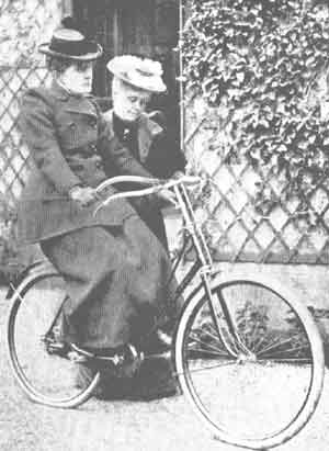 Frances Willard learning to ride Gladys.