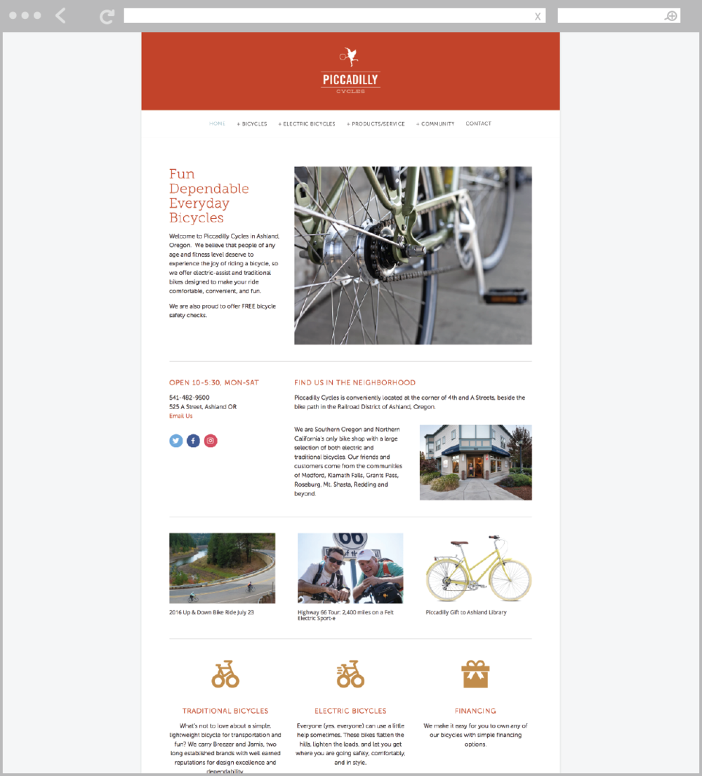 Piccadilly Cycles of Ashland website by Mark Mularz, Fetch Design