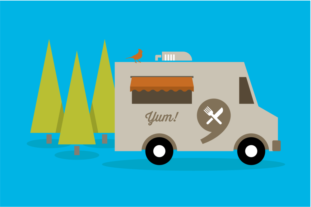 Portland food truck illustration by Mark Mularz of Fetch Design.