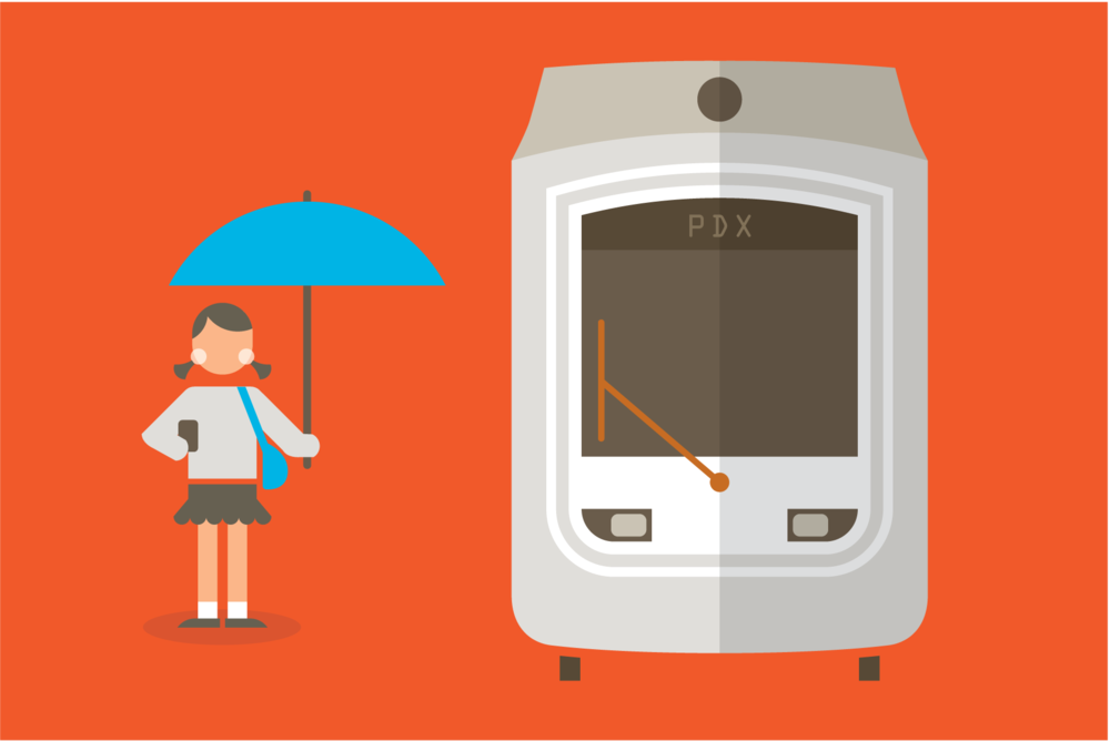 Portland streetcar illustration by Mark Mularz of Fetch Design.