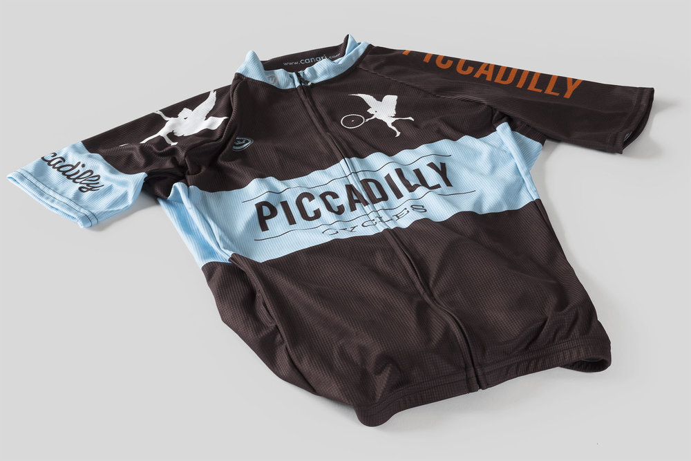 Piccadilly Cycles cycling jersey designed by Mark Mularz, Fetch Design