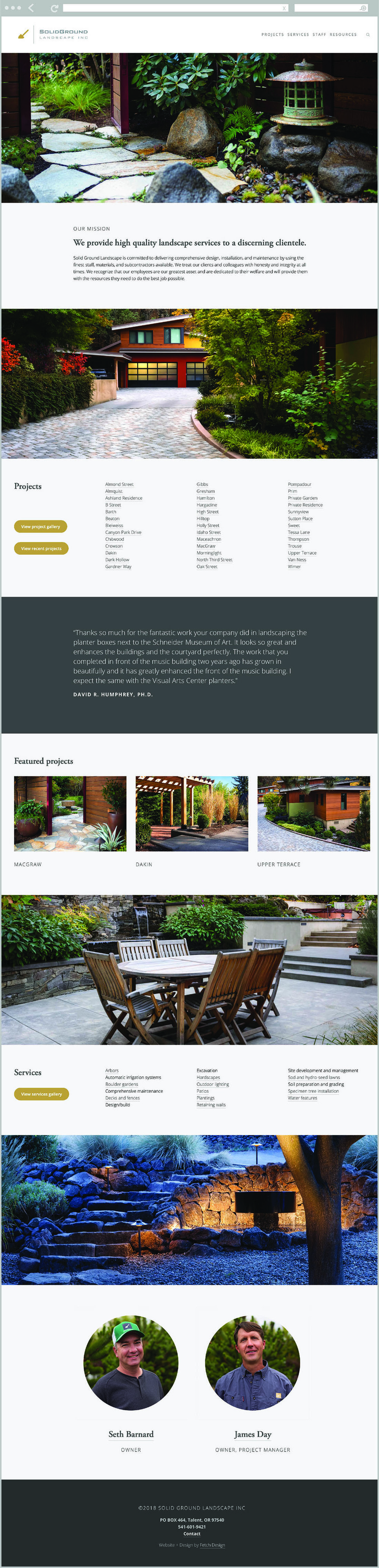 Solid Ground Landscape, Inc. website by Fetch Design. Solid Ground is located in Talent, Oregon and provides landscape design and installation services to the surrounding communities including Jacksonville, Ashland and Medford.