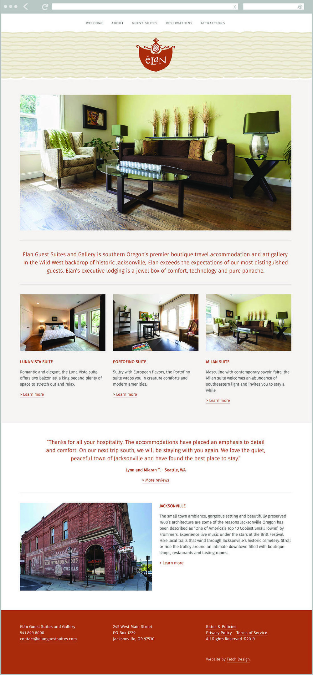 Fetch Design created the visual identity and developed the website for Elan Guest Suites, located in Jacksonville, Oregon.