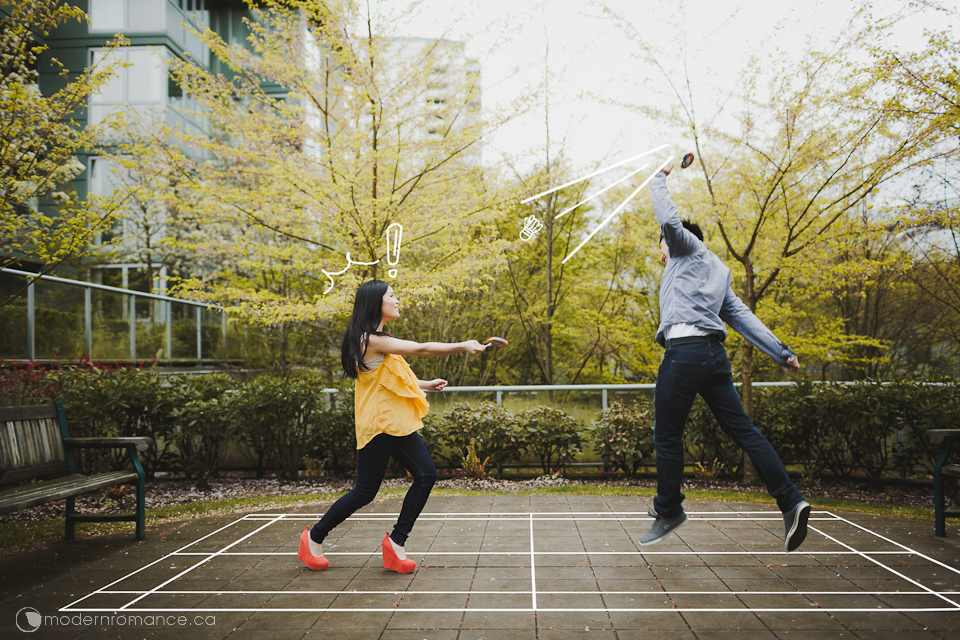 Eunice + Brian = a fun couple, so we wanted them to do something fun - fake badminton with cute lollipops!