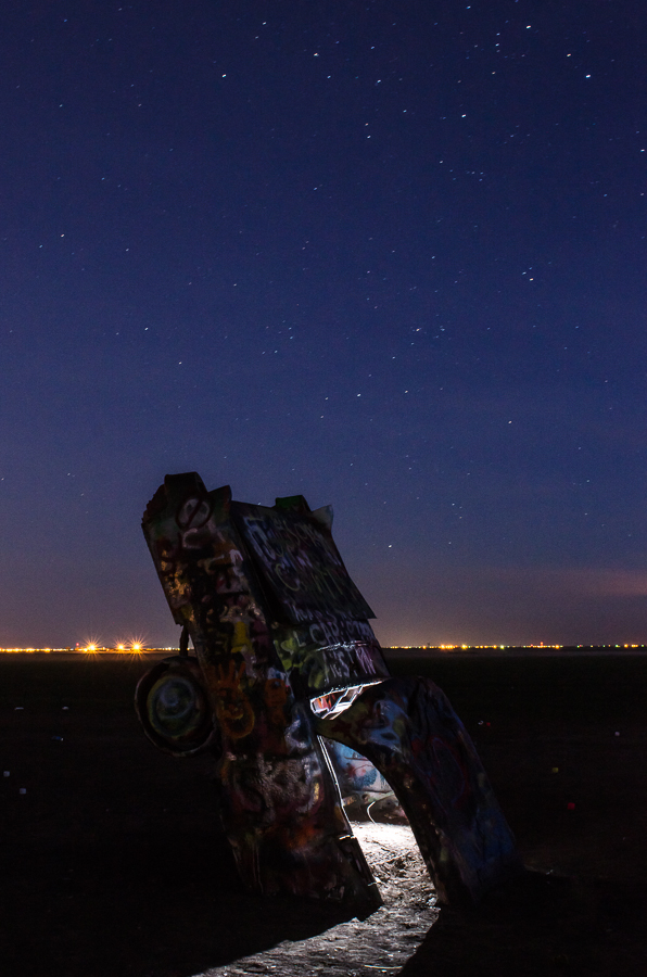 Cadillac Ranch at night