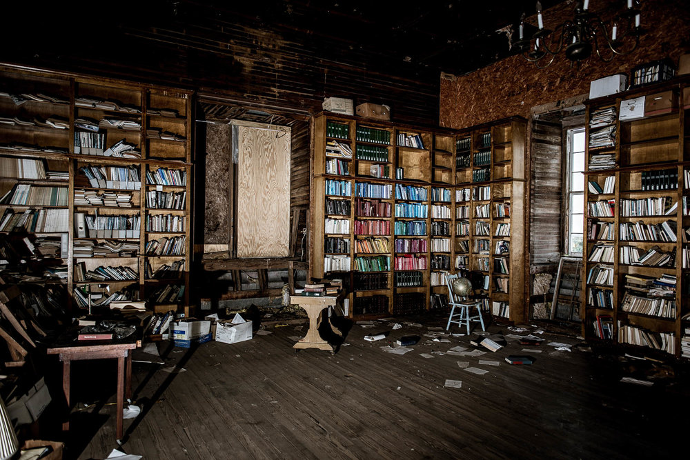 Inside the library of the derelict, but not quite abandoned, old Tehuacana Academy/Trinity University/Westminster College/Westminster Junior College and Bible Institute building in Tehucanah TX.  More on this building and community can be found  here .