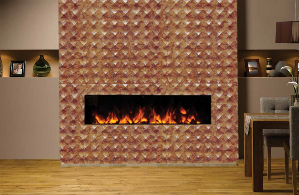 natural stone diamond design of the fireplace