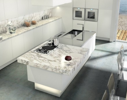 Modern kitchen in Calacatta Oro Marble