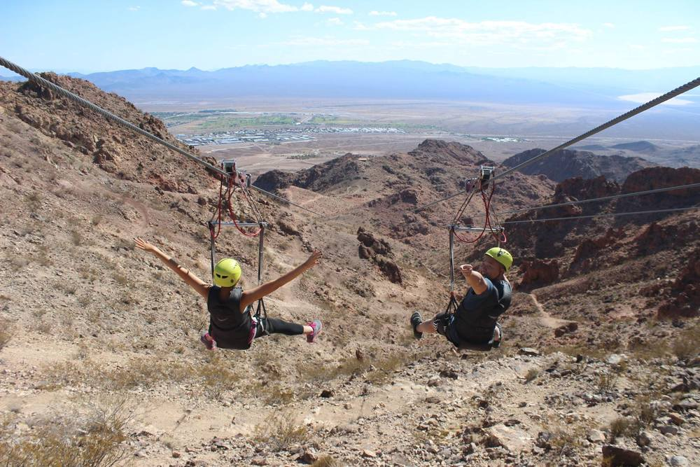 Zip-lining down Bootleg Canyon with Flightlinez