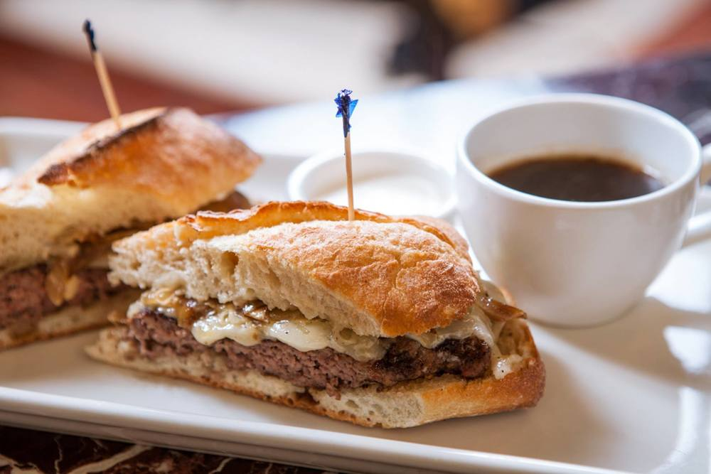 French Dip Burger at Grand Lux Cafe