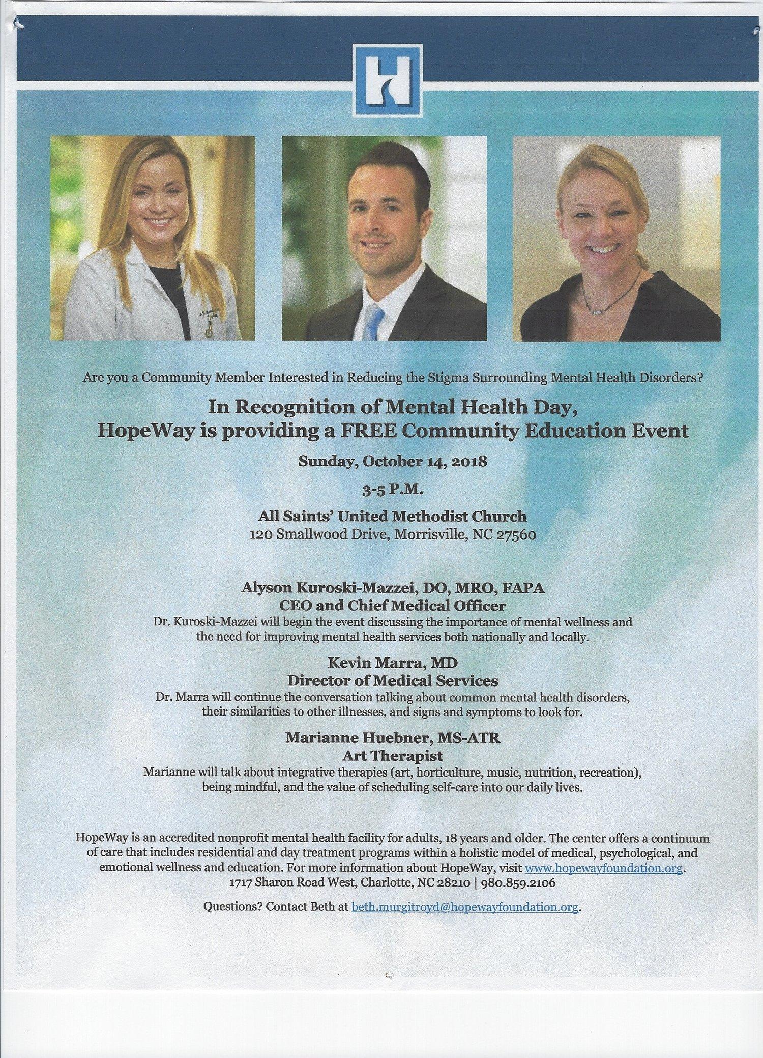 Making Hope Tangible: Mental Health Symposium — All Saints