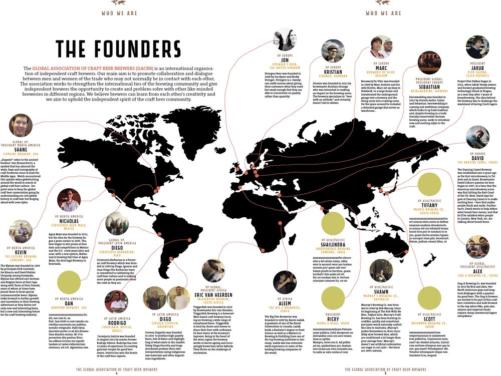 Global Association of Craft Beer Brewers (Associação Global dos Cervejeiros Artesanais) mostra o mapa da colaboração (Foto: Divulgação)