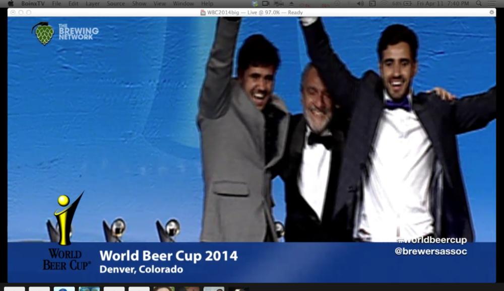 Tiago e José Felipe Carneiro comemoram façanha na World Beer Cup 2014, em Denver (Foto: reprodução da transmissão ao vivo pela internet)