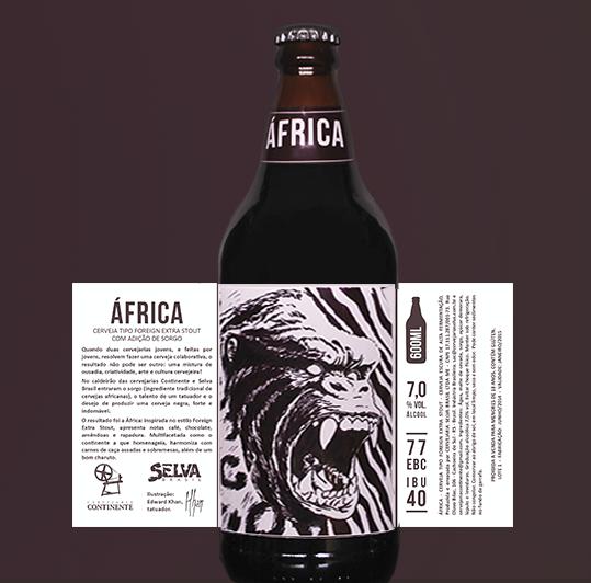 Cerveja África traduz no rótulo as fortes características do estiloForeign Extra Stout (Foto: Divulgação)