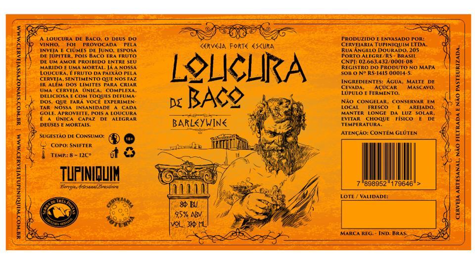 No rótulo a explicação do nome Loucura de Baco, inspirado na mitologia romana (Foto: Divulgação)