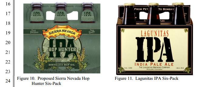Compare os rótulos: o do novo lançamento da Sierra Nevada e o da IPA daLagunitas, cervejaria que processa a concorrente por supostoplágio no design (Foto: Reprodução)