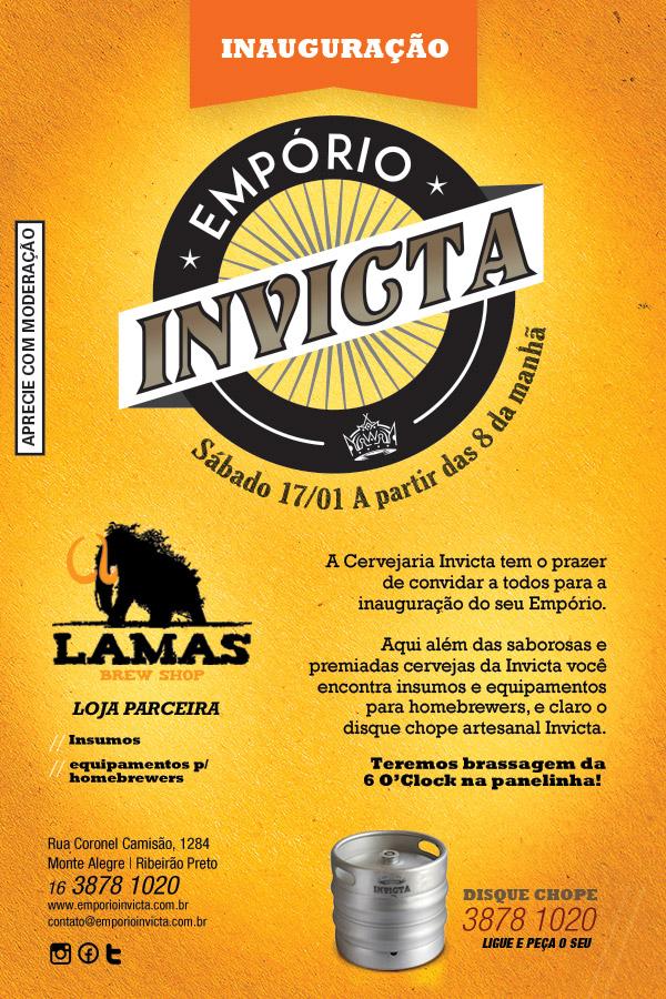 O Empório Invicta funciona na rua Cel. Camisão 1284, em Ribeirão Preto, das 9h às 18h de segunda à sexta, e aos sábados das 9h às 13h