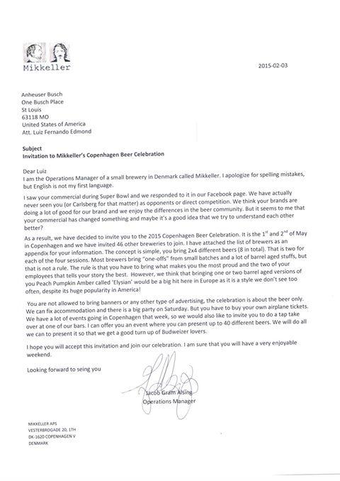 Reprodução do convite enviado pela dinamarquesaMikkeller para o grupo cervejeiro norte-americano Anheuser Busch ( integrante da Ambev). Uma resposta irônica para o polêmico comercial exibido pela Bud no intervalo do Superbowl(Foto: Divulgação)