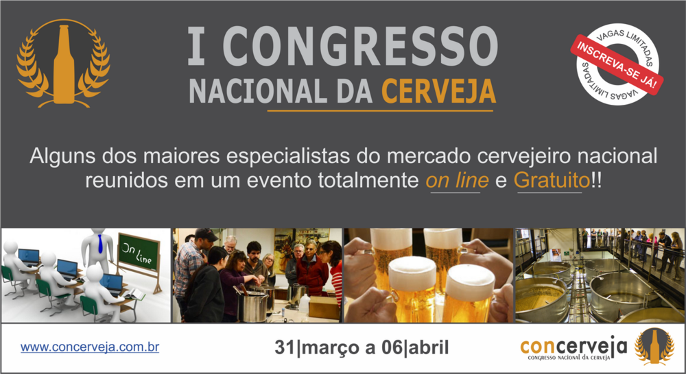 As inscrições devem ser realizadas cadastrando o email no site www.concerveja.com.br