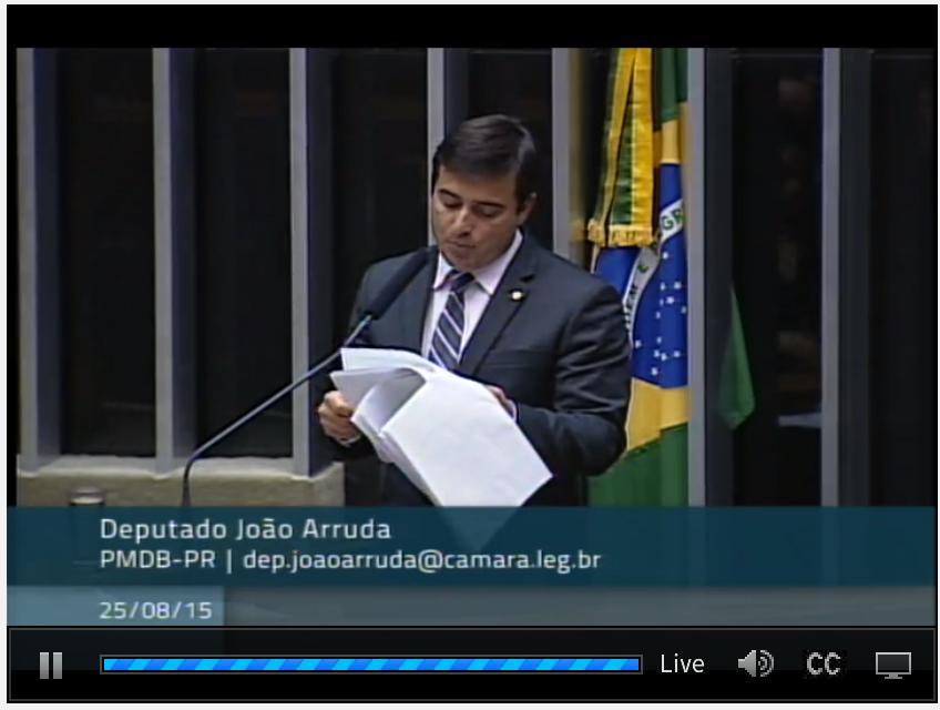 Deputado João Arruda lê o parecer sobre o projeto de mudança do regime especial de tributação, que se aprovada beneficiará microcervejarias (Foto: Reprodução/site da Câmara)